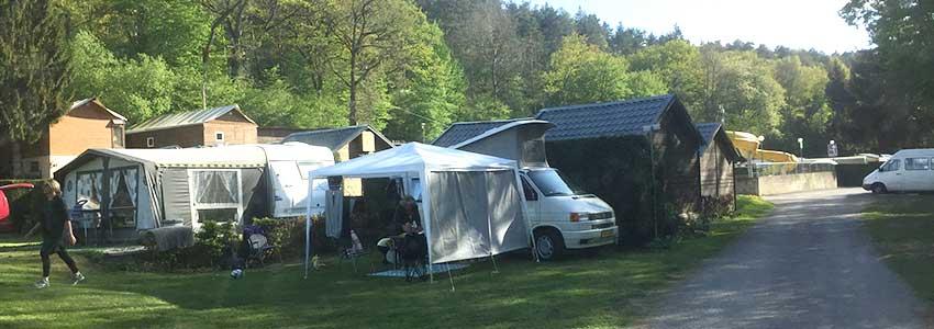 Kampeerplaats op camping Polleur in de Belgische Ardennen
