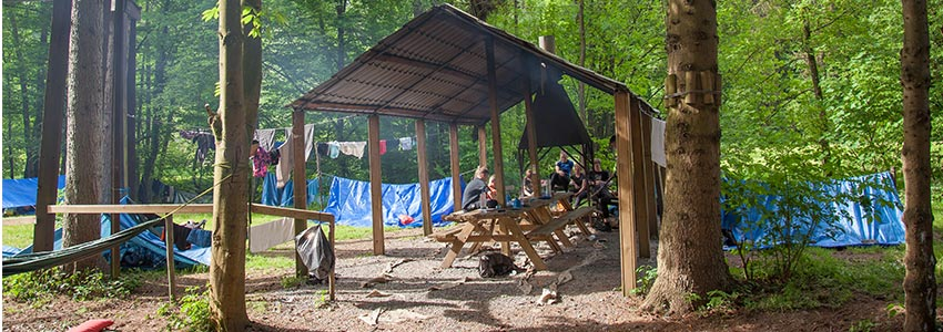 Overkapping met picknicktafels en plek voor maken kampvuur op camping Polleur