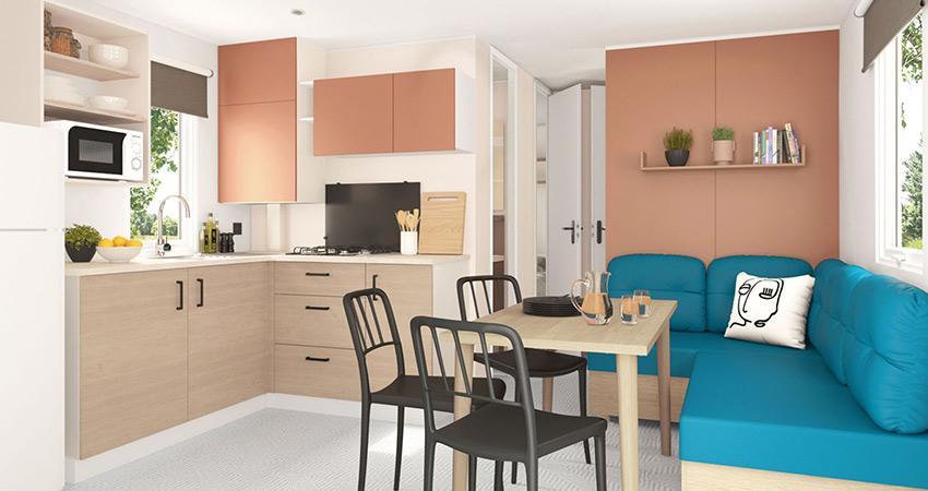 Keuken van chalet 6 met terras